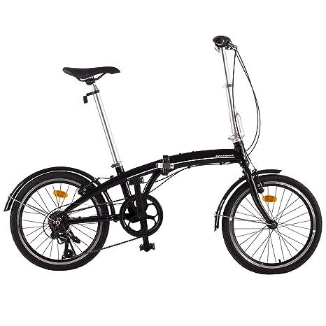 Ultrasport 331100000184 Bicicleta Plegable, 7 Marchas, Unisex Adulto, Negro, 20 Pulgada