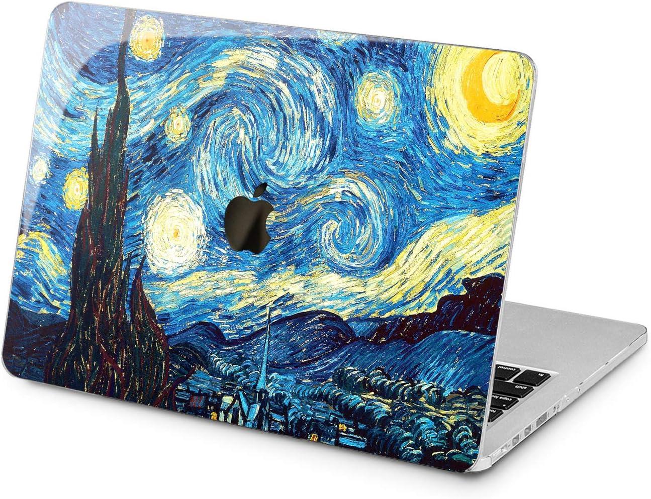 "Cavka Hard Shell Case for Apple MacBook Pro 13"" 2019 15"" 2018 Air 13"" 2020 Retina 2015 Mac 11"" Mac 12"" Artwork Protective Cover Laptop Painting Blue Starry Night Design Glam Print Plastic Van Gogh"