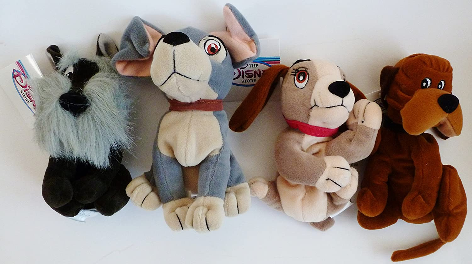 Retired Disney Lady and the Tramp Complete Set of 4 Plush Bean Bag Dolls Including Tramp, Lady, Jock, and Trusty Mint with Tags: Amazon.es: Juguetes y ...