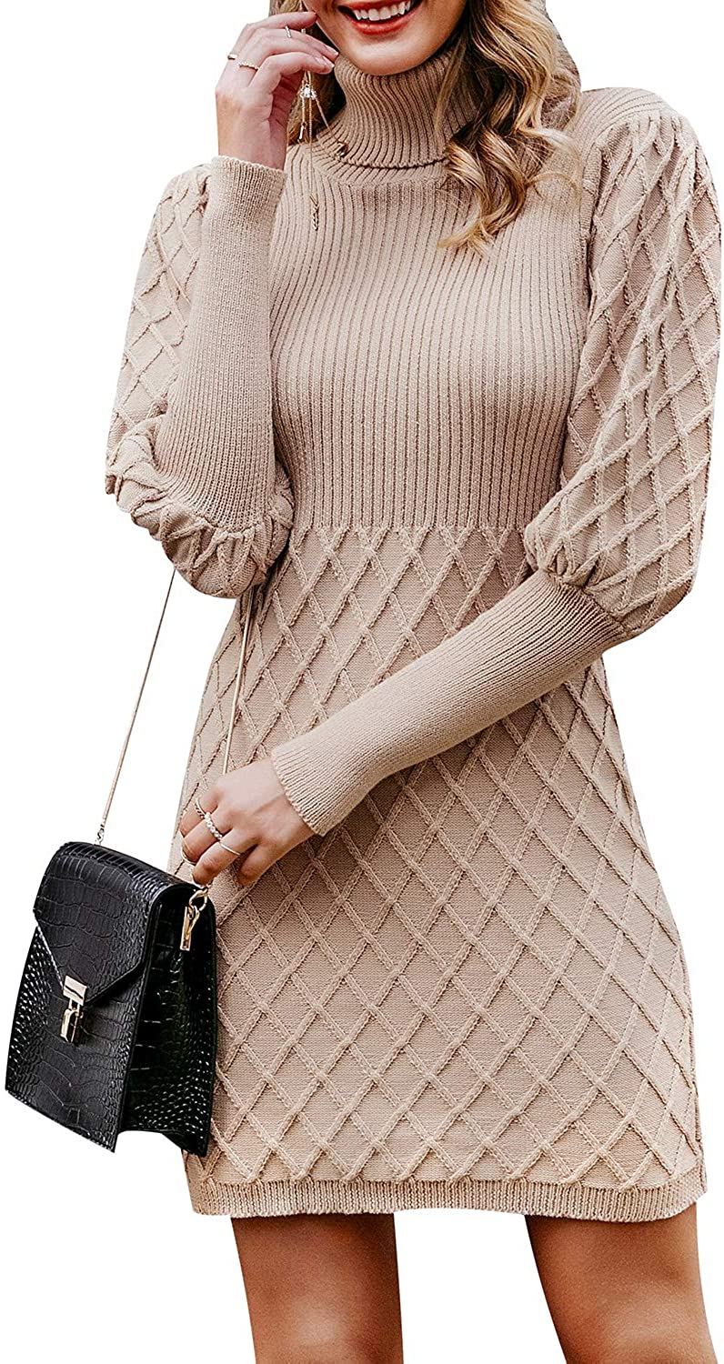 Simplee Women's Long Sleeve Bodycon Sweater Dress Cable Knit Turtleneck Sweater Dresses