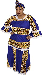 dbf779b79cb African Planet Women s Long Maxi Dress Nigerian Inspired Lace with Headwrap