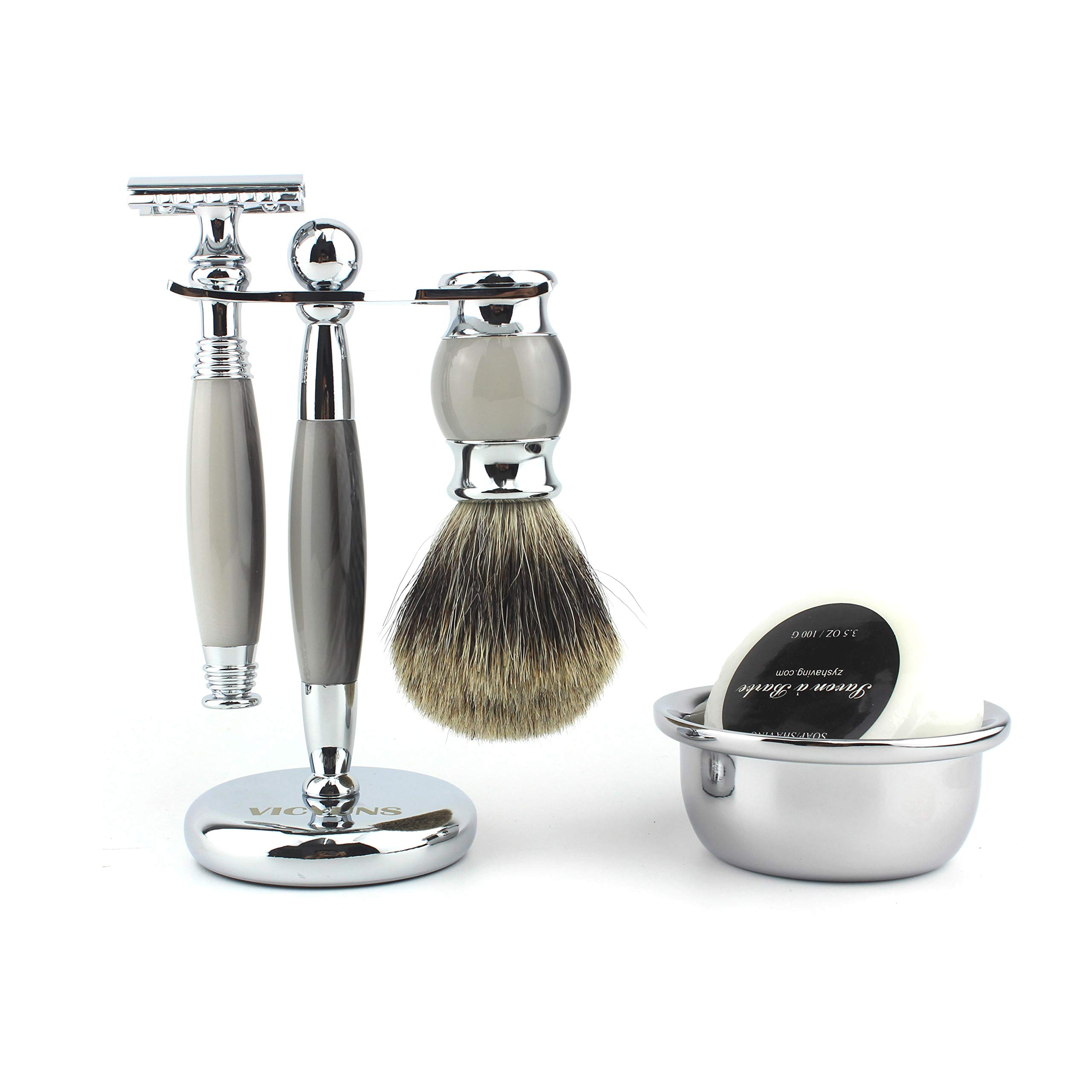VICYUNS Luxury Grooming Shaving Set for Men Including Double-sided Razor, Allergy Shaving Soap, Stainless Steel Mirror Bowl, Hair Shaving Brush,10 Replacement Blades (Gray) by VICYUNS