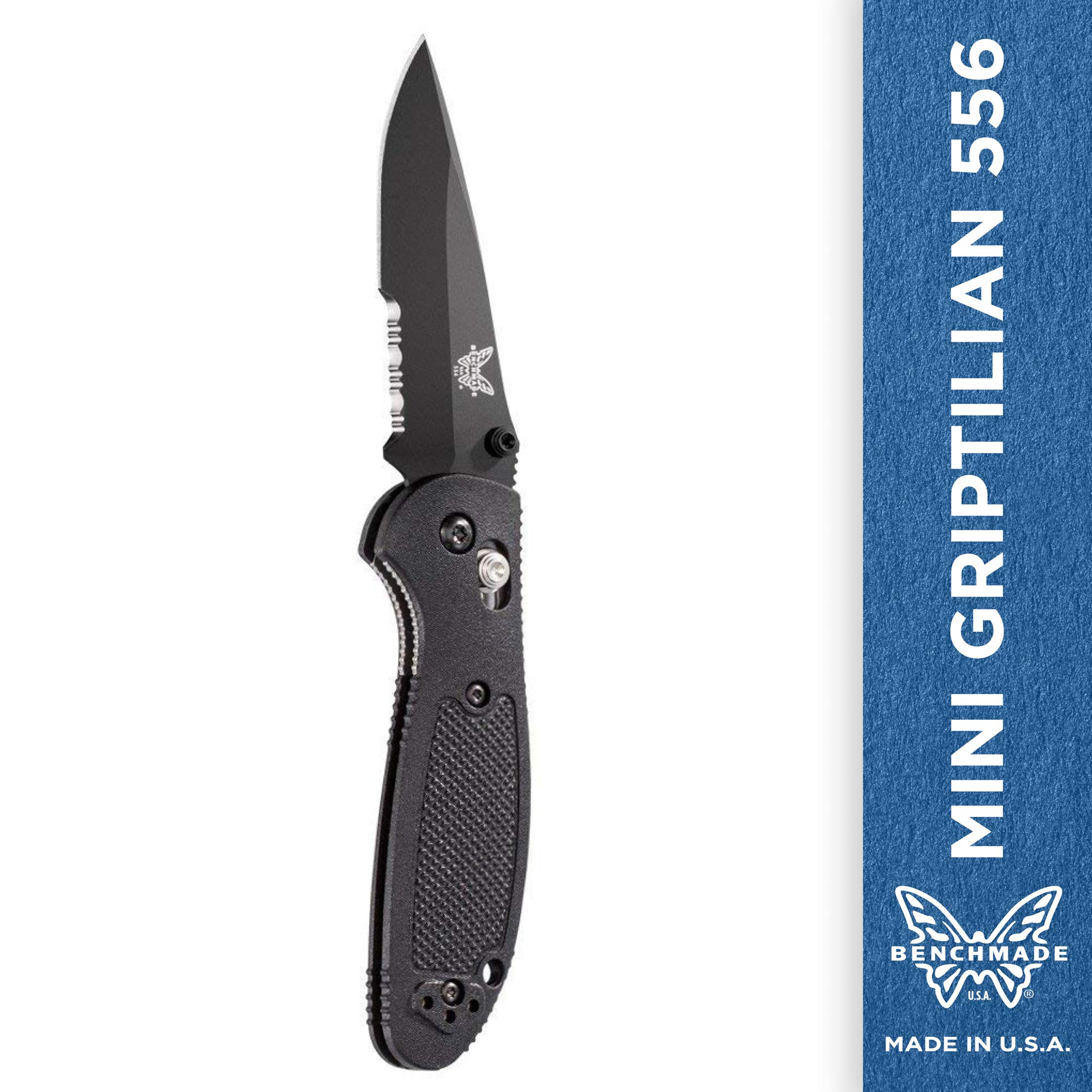 Benchmade - Mini Griptilian 556 EDC Manual Open Folding Knife Made in USA, Drop-Point Blade, Serrated Edge, Coated Finish, Black Handle by Benchmade