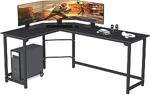 SZXKT L Shaped Desk Home Office Corner Desk Computer Table Sturdy Gaming Desk Writing Desk Workstation(Black)