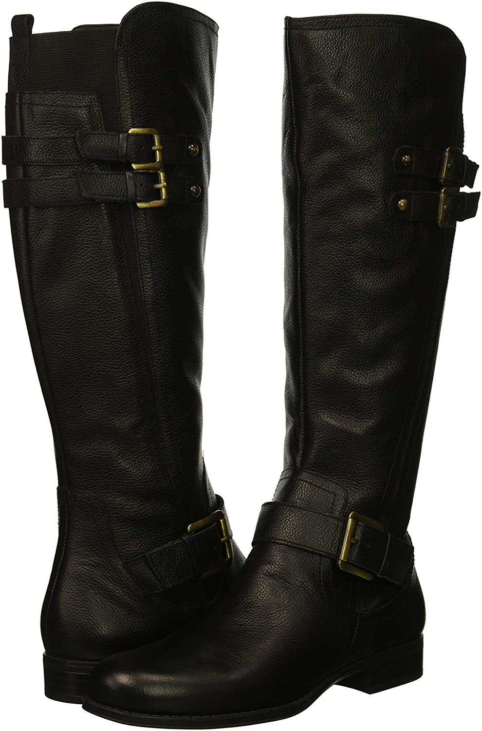 Women's Jessie Knee-High Triple-Buckle Straps Low-Heel Black Real Leather Boots - DeluxeAdultCostumes.com