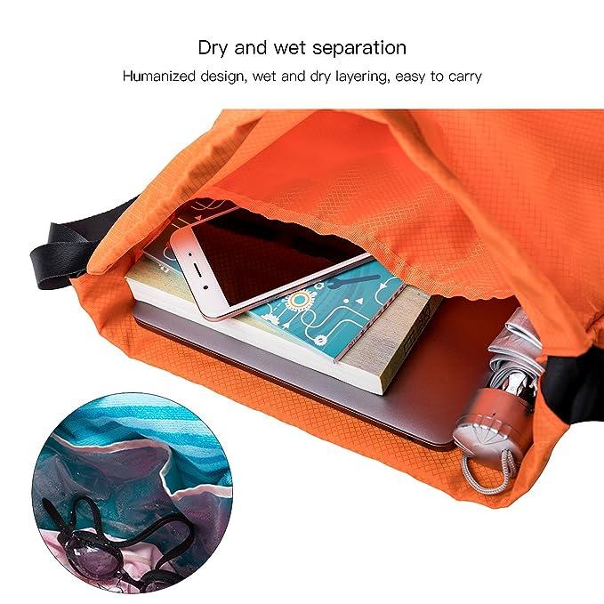 9b329574d0 BLUE CHARM Sac de rangement pour maillot de bain/sac de natation/sec et mouillé  séparateur/sac de plage/sac étanche/pour extérieur homme et femme sport/Sac  ...