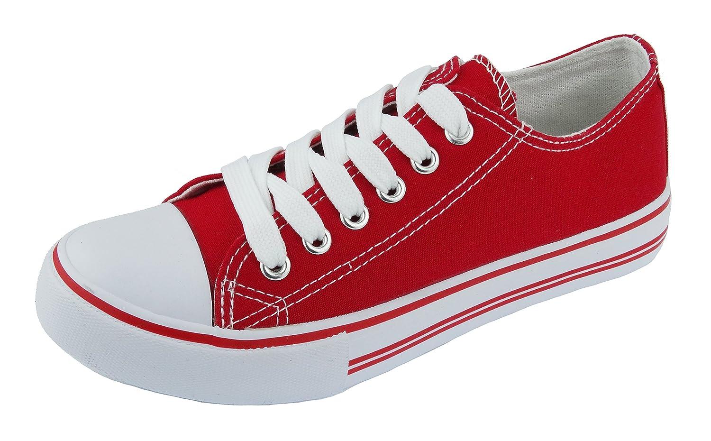 Pierre Dumas Women's Logan-1 Fashion Canvas Lace-Up Sneakers B01J2DBHOI 7 B(M) US Red