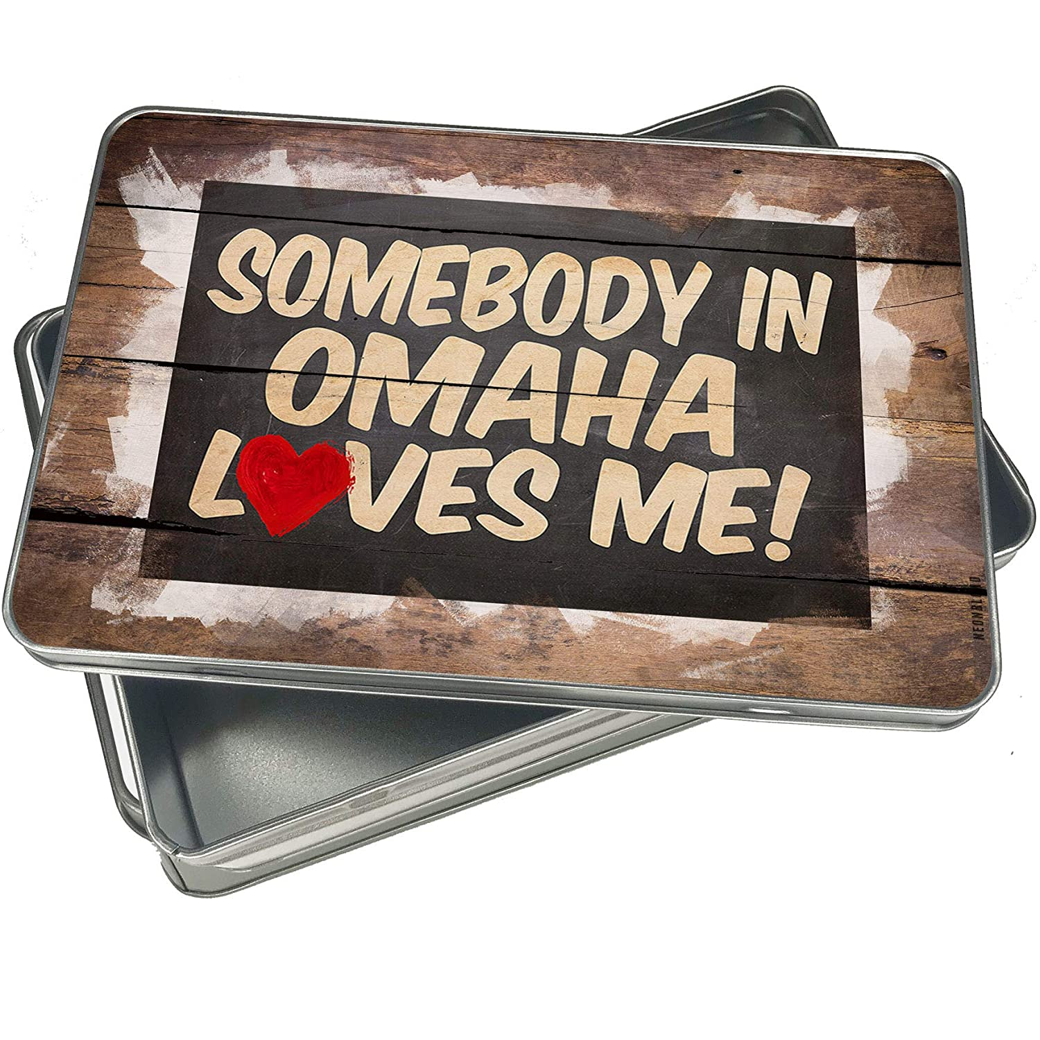 NEONBLOND Cookie Box Somebody in Omaha Loves me, Nebraska Christmas Metal Container