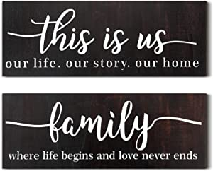 Jetec 2 Pieces This is Us Rustic Print Wood Sign Framed Family Rustic Wooden Wall Decor Farmhouse Entryway Signs for Bedroom Living Room Office Home Wall Outdoor Decor (Aged Brown)