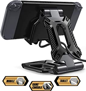 Tablet Stand, Nintendo Switch Stand, SUPCASE Portable Adjustable Desk Aluminum Mount Holder Dock for Cell Phone, iPad Air Pro Mini, Galaxy Tab, Nintendo Switch, E-Reader and More (4-13'') - Black