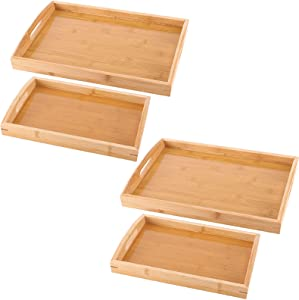 ZOENHOU 4 Pack Bamboo Serving Tray with Handles, Natural Rectangle Nesting Serving Trays, Wood Tray Set for Food Breakfast Tea Restaurants, 15.7 x 11 x 2 Inch and 13 x 8.7 x 2 Inch