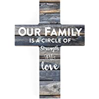 P. Graham Dunn Our Family is a Circle of Strength and Love Rustic 7 x 5 Wood Wall Art Cross Plaque