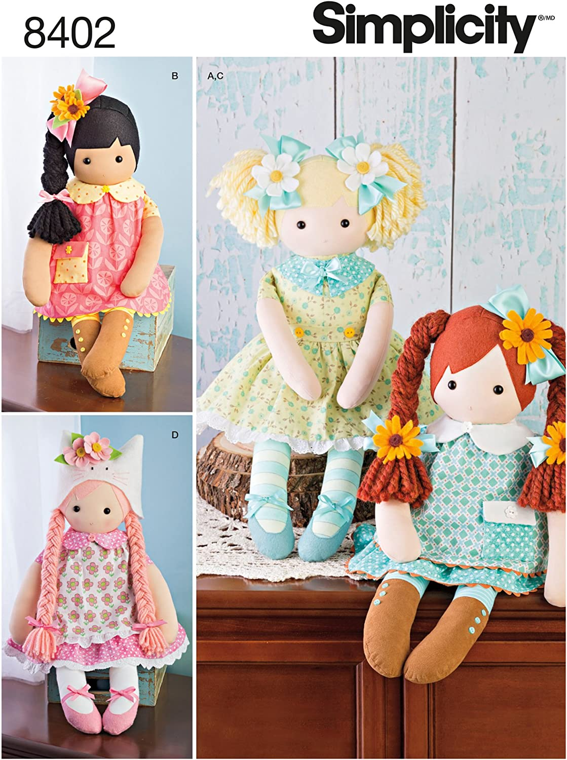 3 STYLES PLUSH TOY SEWING PATTERN MAKE 25 INCH CLOTH~STUFFED DOLLS~CLOTHES
