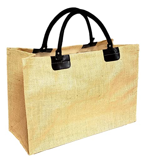 Amazon.com: Bolsa de la compra de yute natural XL con asas ...