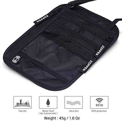 Zoppen Rfid Travel Passport Wallet Neck Holder Ultra Slim Stash Money Pouch