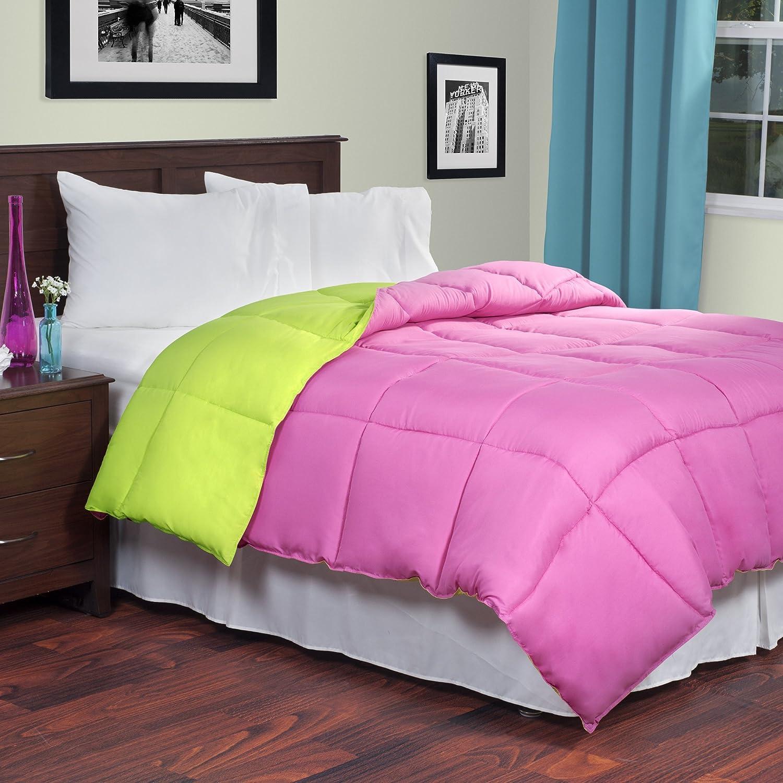 Lavish Home Reversible Down Alternative Comforter, Twin, Pink/Lime 64-14-T-PSG