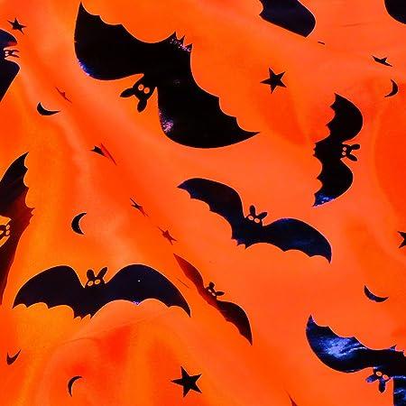orange satin fabric with black bats print per metre amazon co uk