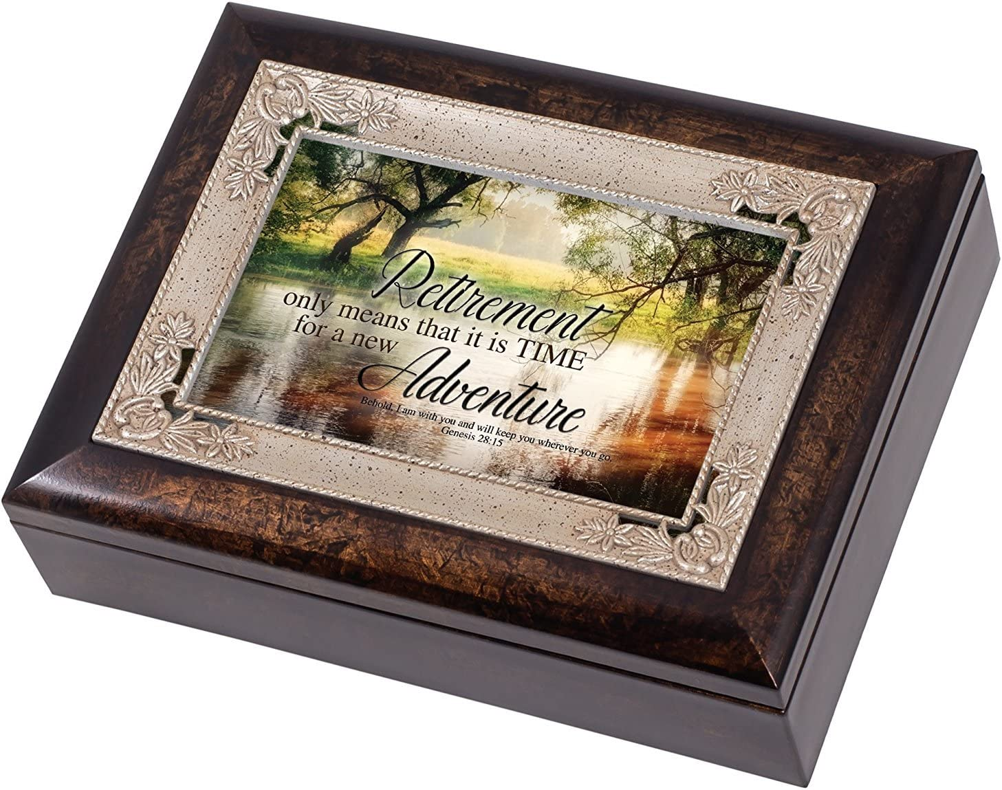 Retirement New Adventure Christian Italian Design Jewelry Music Box Plays Amazing Grace
