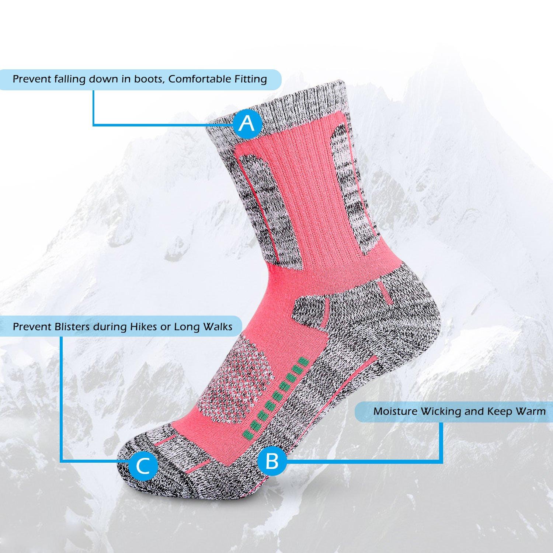 Yolev Femme Chaussettes de Randonn/ée Anti-humidit/é Chaussettes Chaudes en Coton pour Trekking Ski Sport Ext/érieur Rose /& Jaune, EU 35-39 Lot de 2