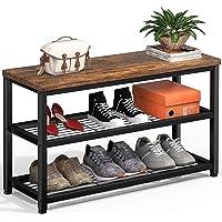 Homfio Shoe Rack, 3 Tier Shoe Rack Bench, Industrial Shoe Storage Organizer, Entry Bench, 3-Tier Metal Shoe Rack Shelves…