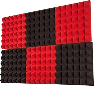 "product image for Foamily 6 Pack - Red/Charcoal Acoustic Foam Sound Absorption Pyramid Studio Treatment Wall Panels, 2"" X 12"" X 12"""