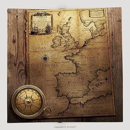 Personalizado Vieja brújula en Vintage mapa Francia España Inglaterra Portugal Holanda Dinamarca Autor Pierre Du 98678141 suave manta de forro polar: Amazon.es: Hogar