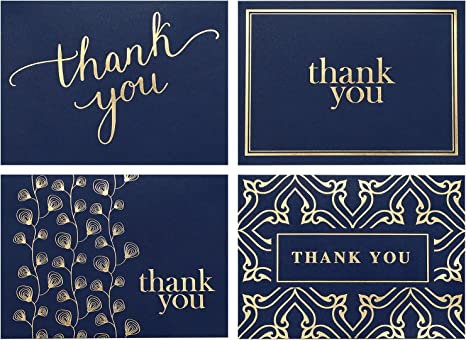 Amazon.com: 100 tarjetas de agradecimiento a granel, notas ...