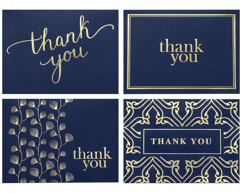 Amazon 100 Thank You Cards Bulk Thank You Notes Navy Blue