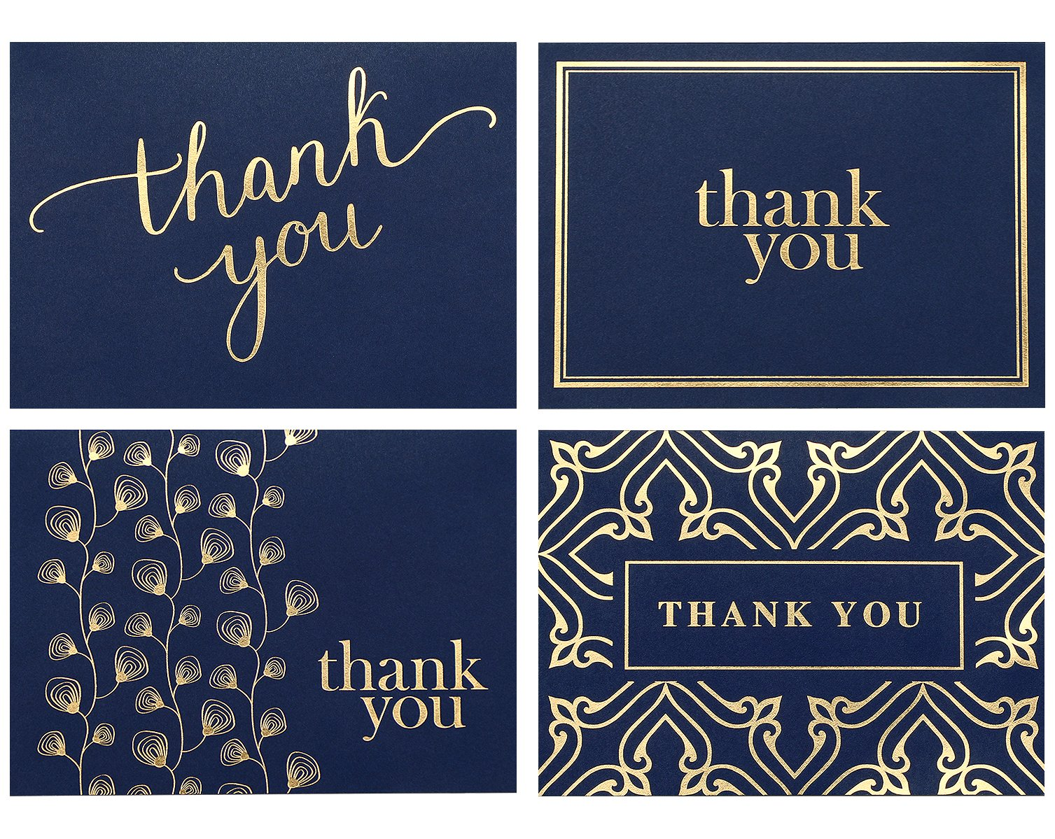 100 Thank You Cards Bulk - Thank You Notes, Navy Blue & Gold - Blank Note Cards with Envelopes - Perfect for Business, Wedding, Gift Cards, Graduation, Baby Shower, Funeral - 4x6 Photo Size by Spark Ink