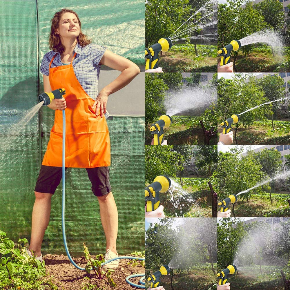 Accenter Water Hose Nozzle Water Spray Nozzle Heavy Duty Plastic Garden Hose Nozzle with 8 Patterns of Spray Perfect for Watering Plants Lawns, Washing Cars, Showering Dogs Yellow : Garden & Outdoor