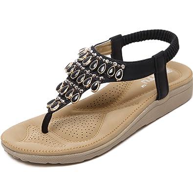 Damen Zehentrenner Sandalen Bohemia Keilabsatz Strass Frauen Sommer Schuhe,Schwarz 38
