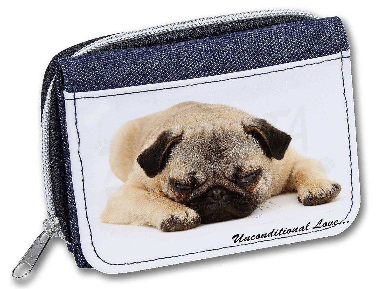 AD-P96JW Fawn Pug Dog in a Basket Girls//Ladies Denim Purse Wallet Christmas Gif
