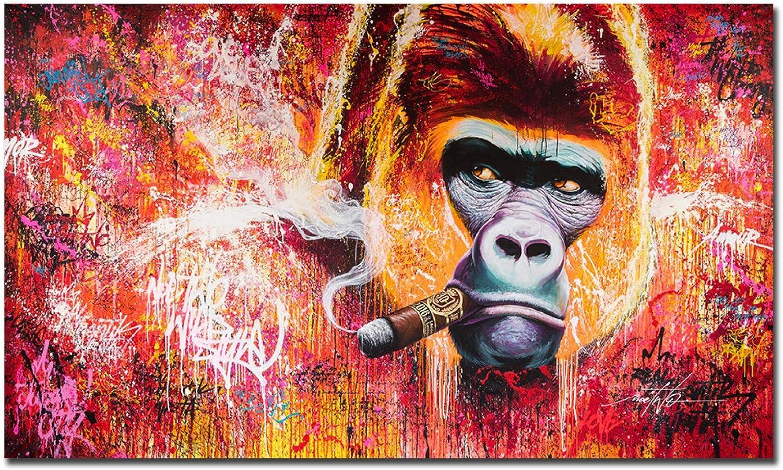 NIEMENGZHEN Pintura sobre Lienzo Pelirrojo Fumador Orangután Imagen de Animal Moderno Arte de Pared Lienzo Pintura Póster de Arte para Sala de Estar 40x80cm Sin Marco