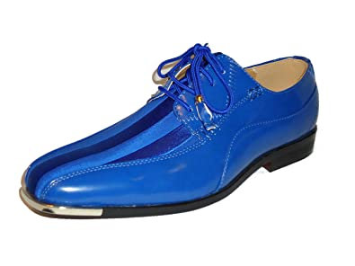 Expressions 4925 Mens Royal Blue Satin Modern Formal Tuxedo Dress Shoes