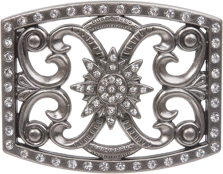 MONIQUE Men Perforated Rhinestone Details Flower Rectangular 1.5 Belt Buckle