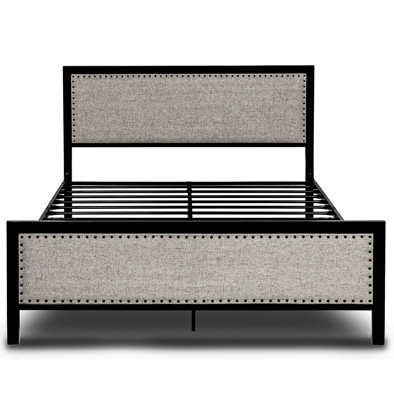 Amooly Full Size Upholstered Bed Frame Metal Platform Bed Box Spring Optional Under Bed Storage, Gray