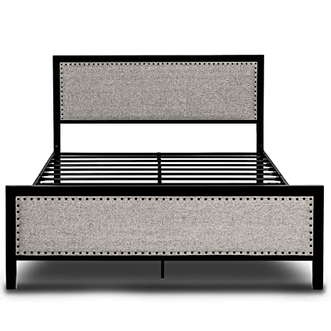 Remarkable Amooly Upholstered Metal Platform Bed Frame Riveted Headboard Footboard Strong Steel Slat Support Under Bed Storage Queen Gray Pdpeps Interior Chair Design Pdpepsorg