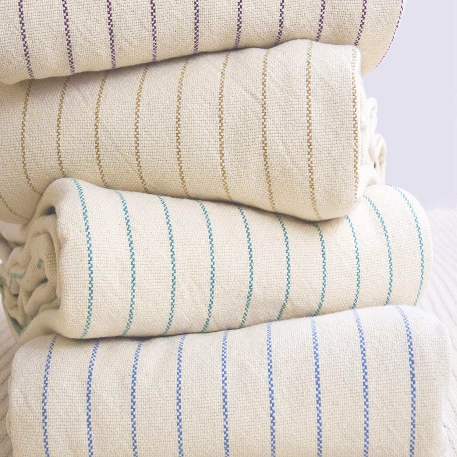 Maine Heritage Weavers Woven Cotton Stripes Size: Twin, Color: Natural//Navy Blanket 1005-T-NVY