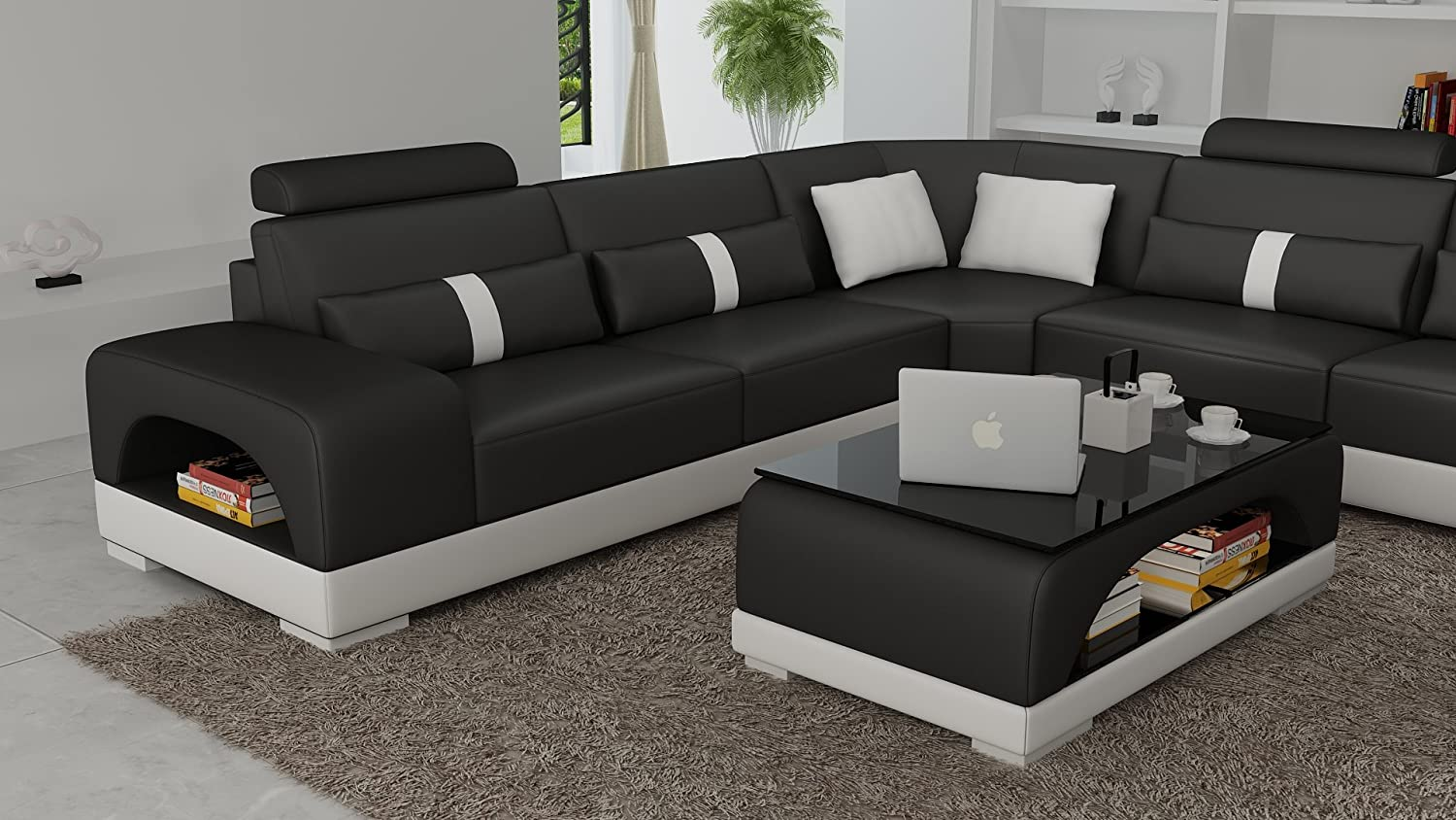 Marvelous Amazon Com Connie Sectional Sofa Set In Black White With Cjindustries Chair Design For Home Cjindustriesco