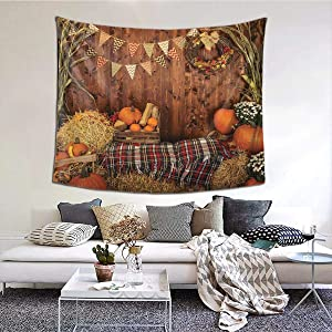 MSGUIDE Thanksgiving Tapestry Rustic Wood Board Barn Harvest Tapestry Autumn Pumpkin Leaves Flower Wall Hanging Tapestries for Bedroom Living Room Dorm Party Home Home Decor,60W x 50H Inches