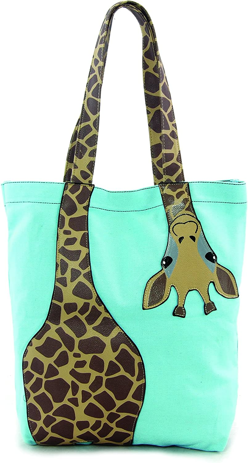 Sleepyville Critters - Bending Giraffe Tote Bag in Canvas Material