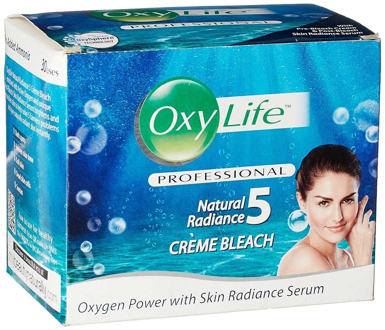 3 x 27 gm each Dabur Oxylife Natural Radiance Creme Bleach Oxy Life - 3 uses Pack Facial Bleach for Women anmol collections