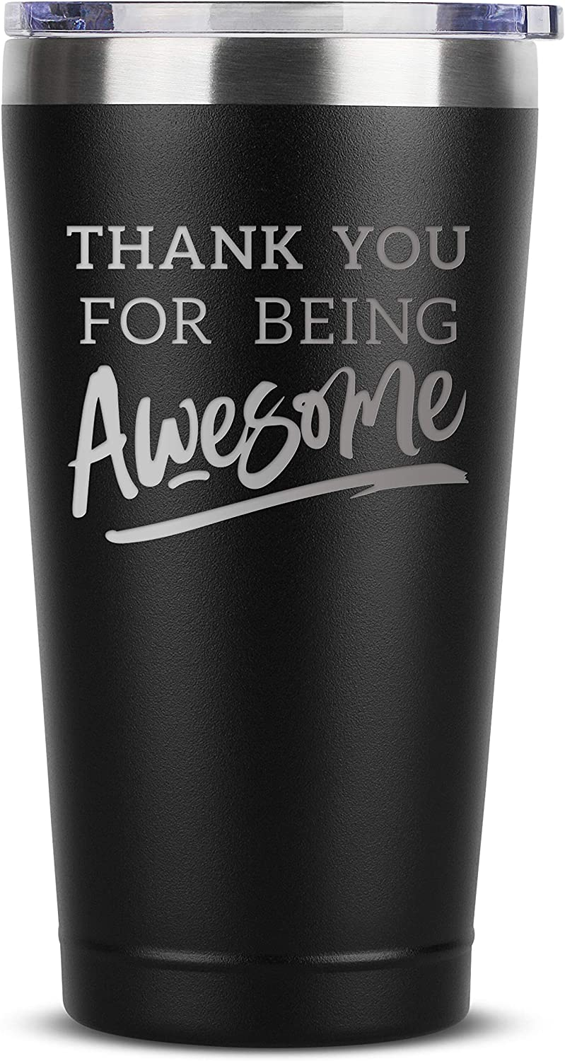 Amazon Com Thank You For Being Awesome 16 Oz Black Insulated Stainless Steel Tumbler W Lid Birthday Christmas Present Gift Ideas For Women Men Wife Husband Son Daughter Friend Presents Gifts