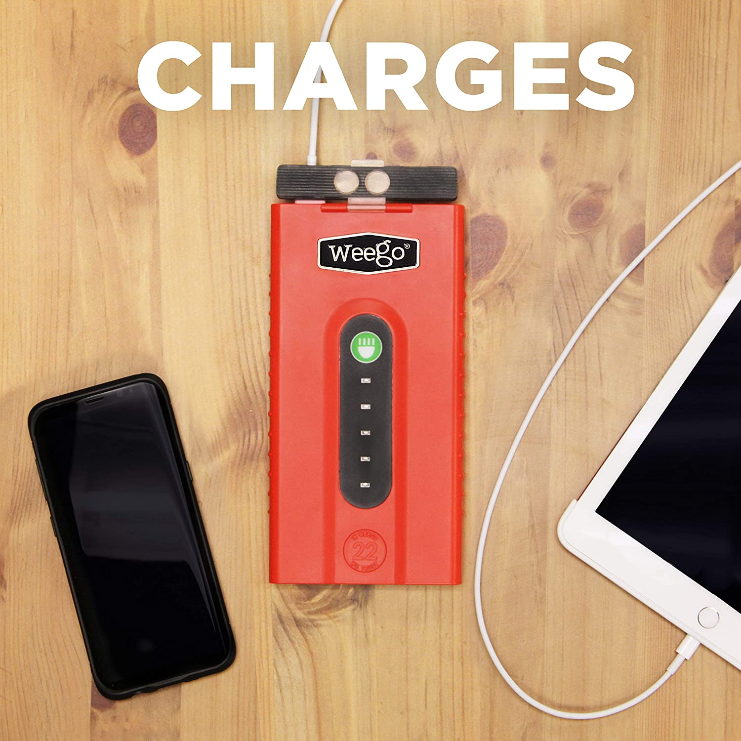 2500 Peak 600 Cranking Amps High Performance Lithium Ion Jump Starter Quick Charges Phones 600 Lumen LED Flashlight Water Resistant NEW 2019 Model WEEGO 66.1 Jump Starting Power Pack