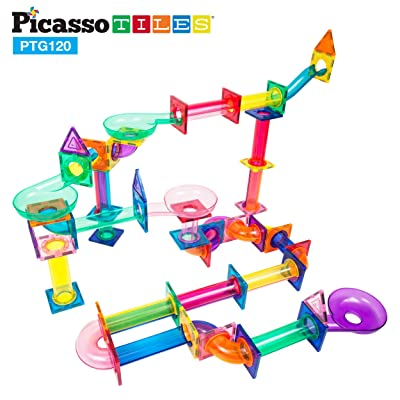 PicassoTiles Marble Run 120 Piece Magnetic Building Blocks Magnet Tile Construction Toy Playset STEM Learning Educational Block Child Brain Development Kids Toys for Boys and Girls Age 3 and Up: Toys & Games [5Bkhe0506746]