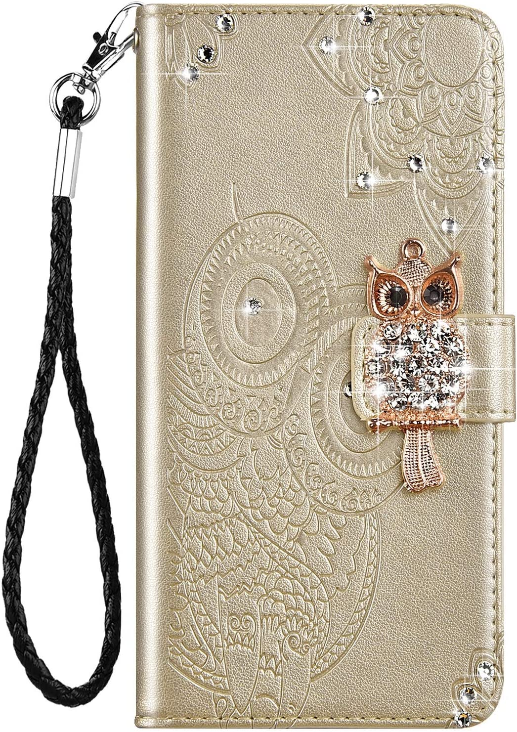 IKASEFU Compatible with Samsung Galaxy A71 5G Case Bling Glitter Owl Rhinestone Diamond Emboss Pu Leather Wallet Strap Case with Card Holder Magnetic Protective Flip Book Cover Case Gold