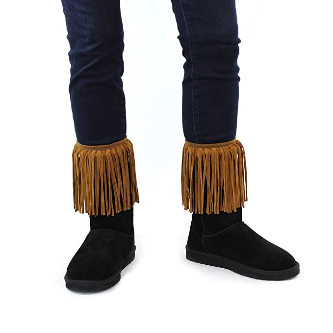 Vintage Inspired Halloween Costumes Women's Faux Suede Fringe Boot Cuffs Vintage Boho Style Boutique Leg Warmers $14.95 AT vintagedancer.com