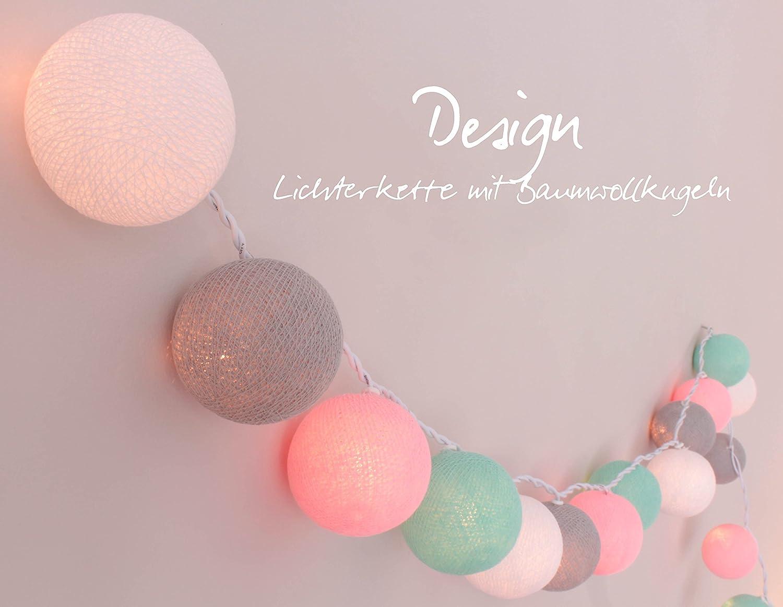 CREATIVECOTTON Cadena de luces LED 'Cuarto del Bebé' con 20 bolas de algodón, temporizador y regulador de luz incluido