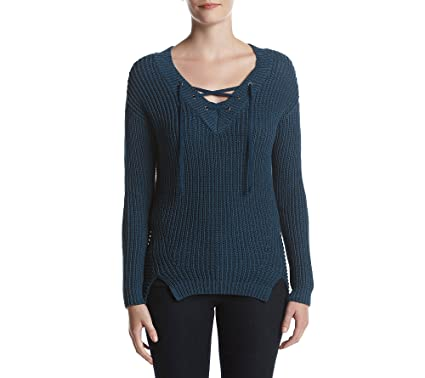 1fcb62362d Ruff Hewn Lace up Pullover Sweater at Amazon Women s Clothing store