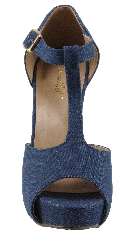 Bonnibel Women's Kylee-3 Denim Platform B07412B6QK T-strap Peep-toe Chuncky Heels B07412B6QK Platform 8 B(M) US|Blue Denim e2a967